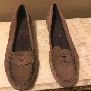Franco Sarto Brown Suede Loafers, Size: 7